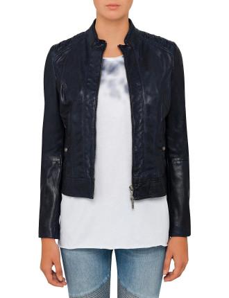 Janassi Leather Jacket With Shoulder Detail