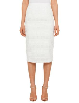 Serenti Geometric Lace Midi Skirt