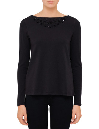 Long Sleeve Top With Beaded Neckline