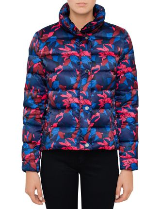 Short Puffer Jacket With Internal Hood - Floral Print