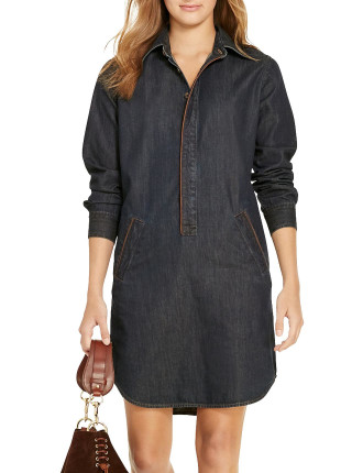 Leather-Trim Denim Shirtdress
