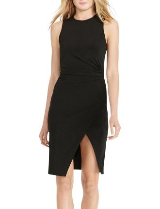 Asymmetrical-Slit Jersey Dress