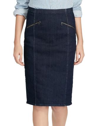 Anya Pencil Skirt W/Zipper Detail