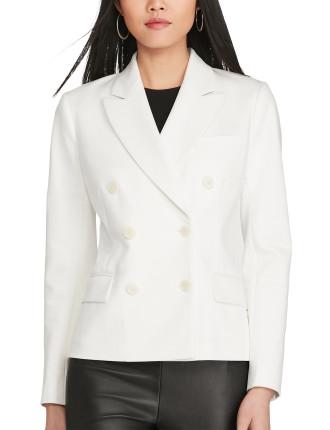 Twill Blazer W/Stripe Under Collar