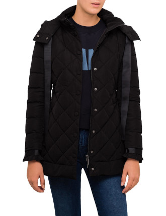 Mid Length Quilted Coat W/High Collar