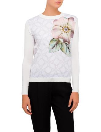 Belie Gem Garden Woven Front Sweater