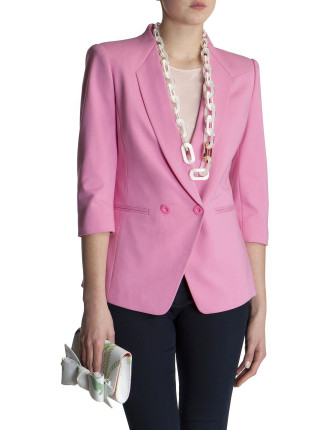 Two Button Stretch Cotton 3/4 Sleeve Jacket
