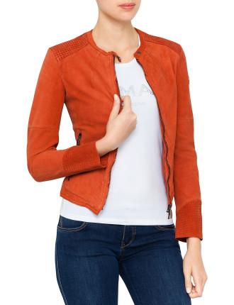 Zip Front Leather Jacket