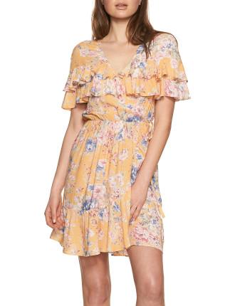 Dahlia Cascade Wrap Mini Dress