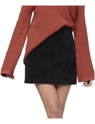 Zip Side Suede Skirt