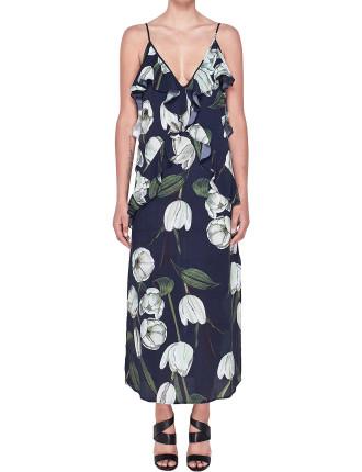 Ruffle Slip Midi Dress