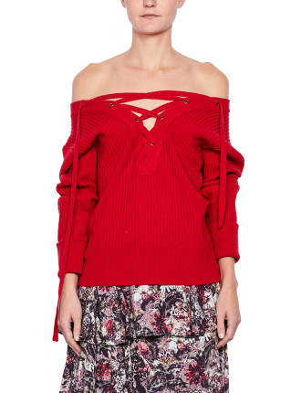 Pull Off Shoulder Lace Knit