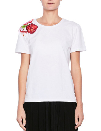 Hibiscus Embroidery Tee