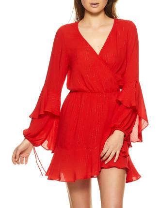 Poet Sleeve Mini Wrap Dress
