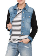 Denim Jacket With Faux Fur Sleeves $111.00