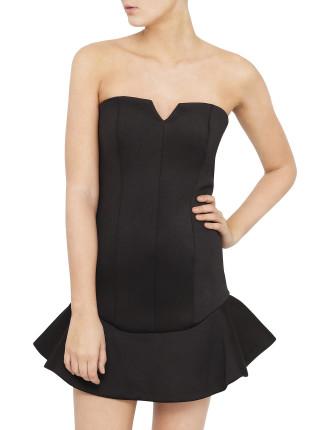 Frill Hem Strapless Dress