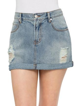 Rolled Denim Skirt
