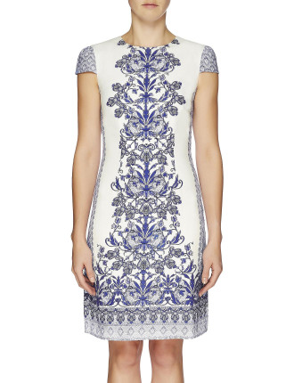 Moroccan Mosaic Cap Sleeve Fitted Dress