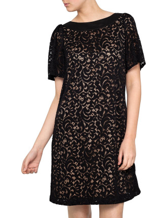 Cocktail  Lace Dress Flounce Sleeve
