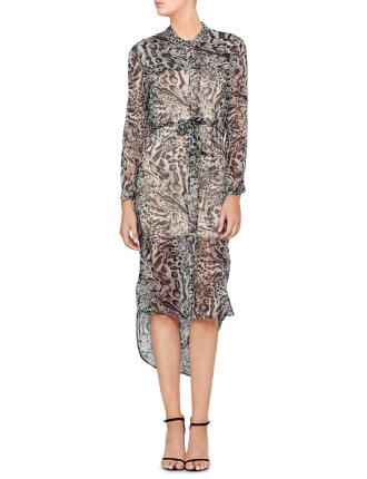 Racer Leopard Shirt Dress