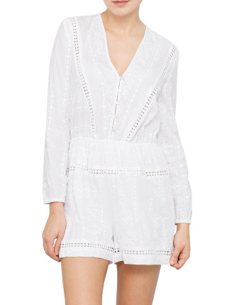 Georgia Stripe Brodery Playsuit