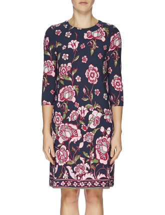 Oriental Lilies Jersey Long Sleeve Tunic Dress