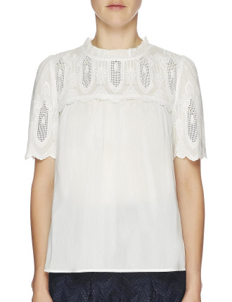 Baroque Embroidered Short Sleeve Ruffle Neck Top