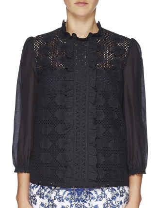 Mosaic Long Sleeve Embroidered Front Shirt