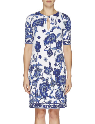 Oriental Lilies Jersey Slash Neck Tunic Dress