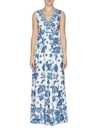 Oriental Lilies Silk V Neck Maxi Dress