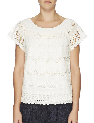 Rococco Embroidered Scoop Neck Top