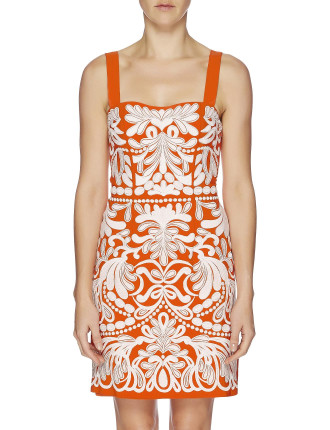 Sateen Swirls Fitted Dress With Straps