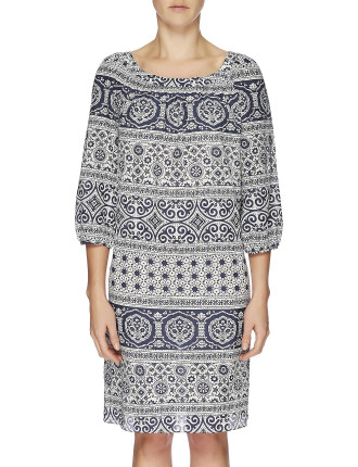 Indiana Print Long Sleeve Raglan Dress