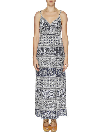 Indiana Print Shoestring Maxi Dress