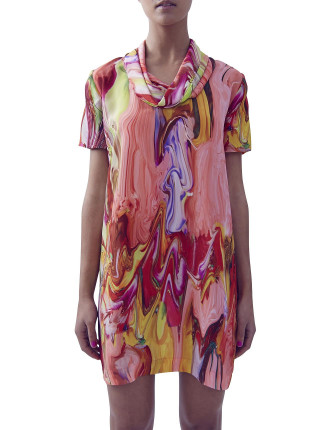 Scarf Neck Silk Tee Dress