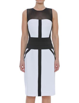 Black & Ivory Panel Dress With Mesh Insert
