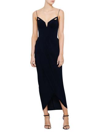 Silk Underwire Drape Long Dress