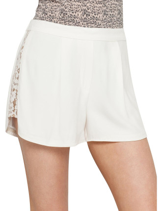 Crepe Lace Panel Short