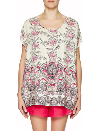 Indian Rose Print Relaxed Top