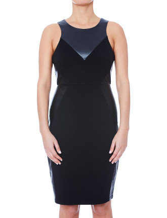 Mid-Length Splice Dress With Leatherette