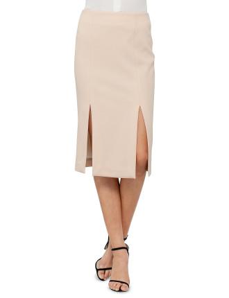 Bonded Crepe Double Split Skirt