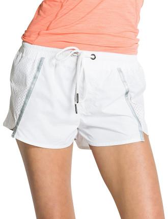 Laser Cut White Run Shorts Reflective Detail