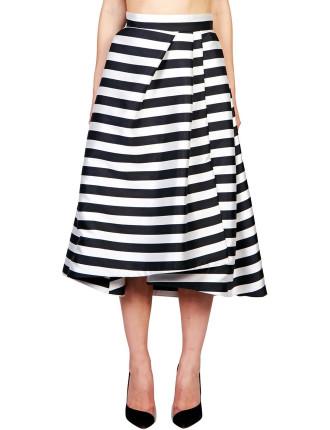 Thin Stripe Pleat Ball Skirt