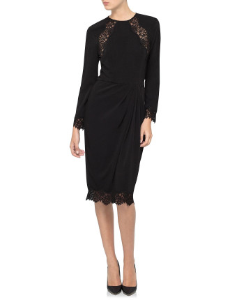 Crepe Lace Tuck Dress