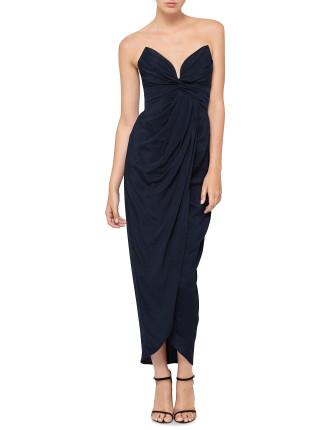 Silk Petal Twist Long Dress