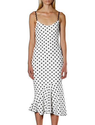 Polka Bias Slip Dress