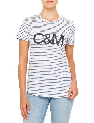 Walsh Stripe Tee with C&M Logo