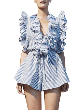Ruffle Lace Up Playsuit