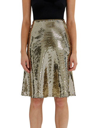 Gold Reflections Midi Skirt