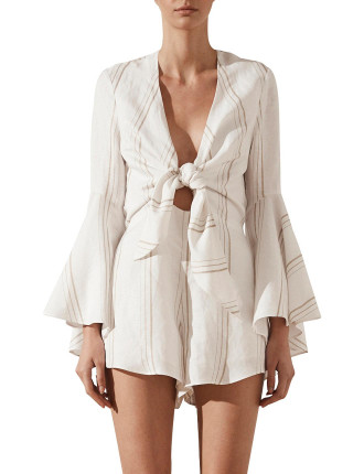 Alba Flared Sleeve Tie Front Playsuit